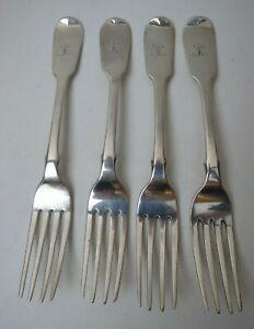 4 Benjamin Smith II Old English Sterling Silver Salad Forks London 1839 Mono L