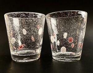 """Crate & Barrel Zazz Millefiori Bubble 4.25"""" Double Old Fashioned Cocktail Glass"""