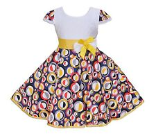 NUEVO Niñas Blanco y Color circular Fiesta Vestido en 4 5 6 7 8 años