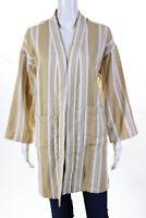 Eileen Fisher Womens Long Striped Open Front Jacket Beige White Size XXS/XS