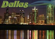 Dallas Skyline at Night Texas, Bank Building etc, Water Reflection TX - Postcard