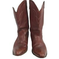 Dark Red Genuine Leather Western Cowboy Boots Size 9.5 Union Made In USA