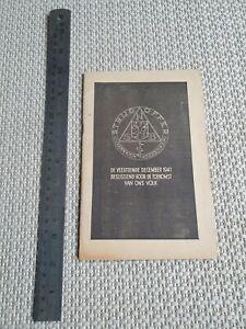 Ww2 Dutch Propaganda Booklet NSB