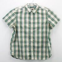 The North Face Men's Green Plaid Button Down Shirt Short Sleeve Size 2XL Large