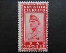 ITALIA 1943 nazisti errore STAMP Gomma integra, non linguellato REGIO Soldato Dell'esercito reale RE VITTORIO EMANUELE m