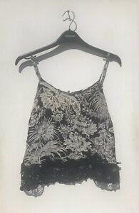 Topshop Size 10 Black White Floral Cami Top Lace Crochet