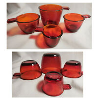 Set of 4 Ruby Red Amberina Glass Nesting Measuring Cups 1/4c 1/3c 1/2c 1c
