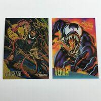 1995 Fleer Spiderman Ultra Clear Chrome Venom & Spiderman Golden Web Carnage