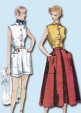 1950s Vintage Simplicity Sewing Pattern 3160 Misses Shorts Blouse & Skirt Sz 32B