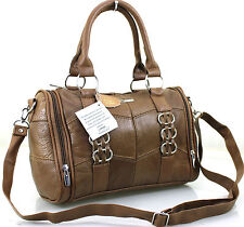 Lorenz Cowhide Patch Leather Large Shoulder Hand Bag for Women - Brown