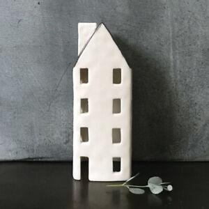 East of India Porcelain Tea light house 15 x 7.5 x 6.5cm White New