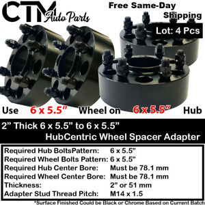 """4PC 2"""" THICK 6X5.5 78MM HUBCENTRIC WHEEL ADAPTER SPACER FIT 6LUG CHEVY CADILLAC"""