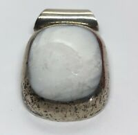 Vintage Sterling Silver Necklace 925 Pendant White Stone Mexico Heavy 40 Grams