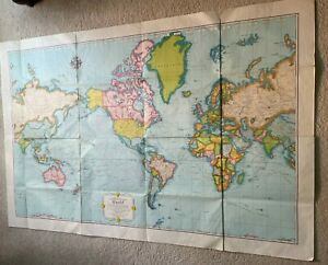 "Vintage Large World Map 1950's Rand McNally Cosmopolitan 52 1/2"" x 34"""