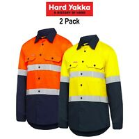 Mens Hard Yakka Safety Hi-Vis Summer 2 Pack Taped Work Long Sleeve Shirt Y07940