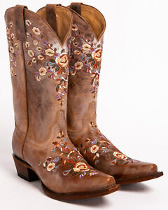 Womens Cowboy Booties Pointed Toe Shoes Retro Embroidery Floral Mid Calf Boots