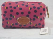 Fossil Cosmetic Case Keyper small pink fuchsia case polka dot makeup bag pouch