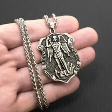 Saint St Michael Medal Shield Large Pendant Necklace 316L Stainless Steel Chain