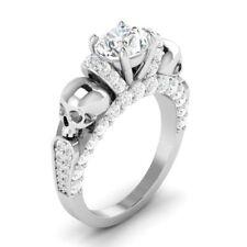 Certified 2.35Ct White Round Diamond Skull Engagement Ring in 14K White Gold