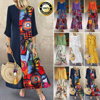 Women Boho Kaftan Cotton Linen Long Maxi Dress Long Sleeves Loose Shirt Dress UK