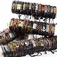 Wholesale 20pcs mix lot Styles punk leather Cuff Bracelets men Fashion Jewelry