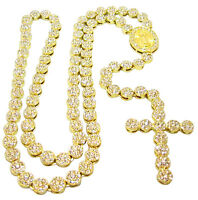 """Iced Out 14K Gold Plated CZ Round Flower Cluster Rosary Cross Chain 36"""" Necklace"""