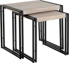 Oak Effect / Black Nest Of Tables (Set Of 2) W47.5cm x D40cm x H45cm WALLACE