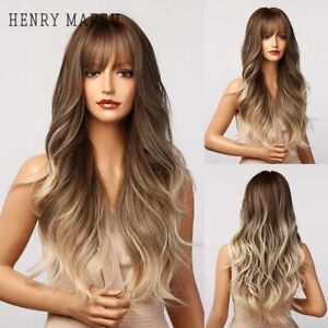 Long Brown Ombre Wavy Synthetic Wigs with Bangs Natural Hair Wigs Cosplay Wigs