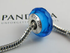 """NEW GENUINE AUTH PANDORA """"BLUE FACETED"""" MURANO GLASS BEAD  MPN 791607 (ALE) S925"""