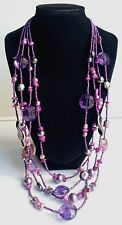 4-Strand Purple Glass Seed Bead, Faux Pearls & Art Glass Beaded Necklace