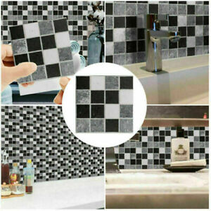 18/36/54X Tile Stickers Stick On Bathroom Kitchen Home Wall Decal Self-adhesive