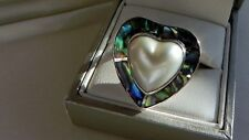 Wow! 7g 925 sterling silver mabe pearl paua shell heart shape ring N-N.5 US 6.75