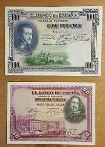 Spain 1928 50 Pesetas Note & 1925 100 Pesetas bank Note in Very Fine Cond.