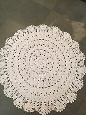 "Handmade Crochet Area Rag Rug 60"" Round White Hand Crocheted Lace Doily Vintage"