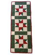 Quilted Table Runner/Topper Holiday Decor Red Green Christmas Hanfmade OOAK