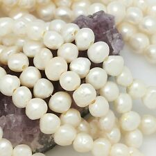 """Cultured Freshwater Pearl Beads Big Hole Nugget White 10-11mm/2mm Hole 15.5"""" AAA"""