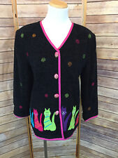 DK Daniel K Cat Creations Sweater Cardigan Small Long Sleeve Black Embroidered