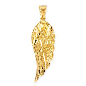 10k Gold Diamond Cut Angel Wing Pendant Size L Large