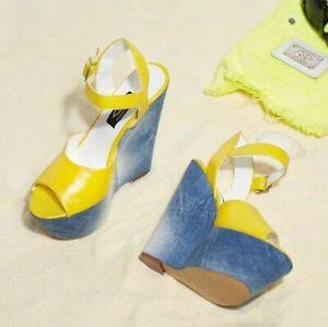 BY ALINA Keilabsatz Pumps Damenschuhe Wedges Jeans High Heels Plateau 35-37 #V29