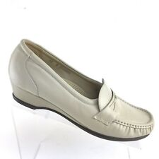 SAS Easier Bone Leather Wedge Loafers Casual Comfort Shoes Womens SIZE 10 N