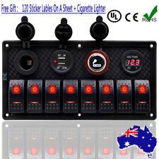 8 Gang Waterproof Marine Switch Panel, Rocker Switch ARB - Boat/Caravan/4WD