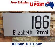 Custom Street Number 30 X15CM House Number Plaque Black On Silver/ white vinyl