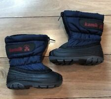 Sz 5 Toddler KAMIK Boys Navy & Black Winter Snow Boots Front Zipper *Pristine*