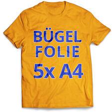 5 Blatt DIN A4 T-Shirt Transferfolie Bügelfolie Folie für helle Stoffe