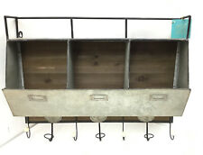 Arnica Rustic Wood and Metal Wall Storage Pockets With Hooks by Kate and Laurel