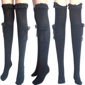 ladies black thigh high stockings white above knee cotton holdup socks lace pink