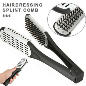 Pro Hairdressing Straightener Hair Straightening Double Brush Comb Clamp Salon