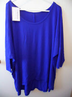 BNWT BRAND NEW BLUE WOMENS STRETCH TOP T SHIRT PLUS SIZE 22 24 26 HI LOW HEM