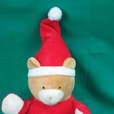 VINTAGE BANTAM TOYS MY FIRST CHRISTMAS TEDDY BEAR RATTLE RED GREEN BABY PLUSH