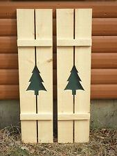 NEW TREERustic Pine Shutters Log Cabin Exterior Window Custom Handmade Tree Wood